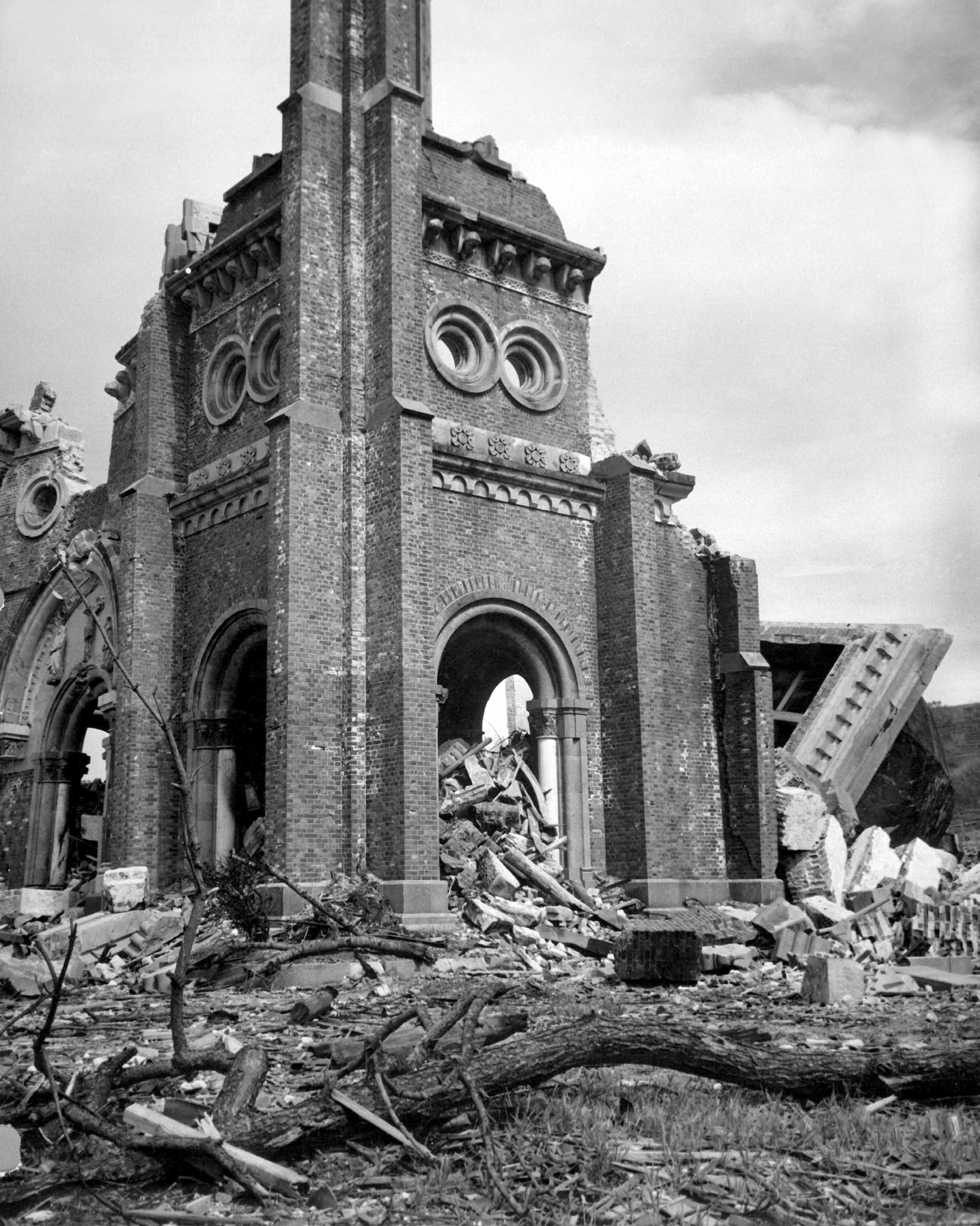 A cathedral in Nagasaki after the bombing.