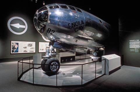 The modified Enola Gay exhibit. Photo courtesy of the Smithsonian Institute Archives.