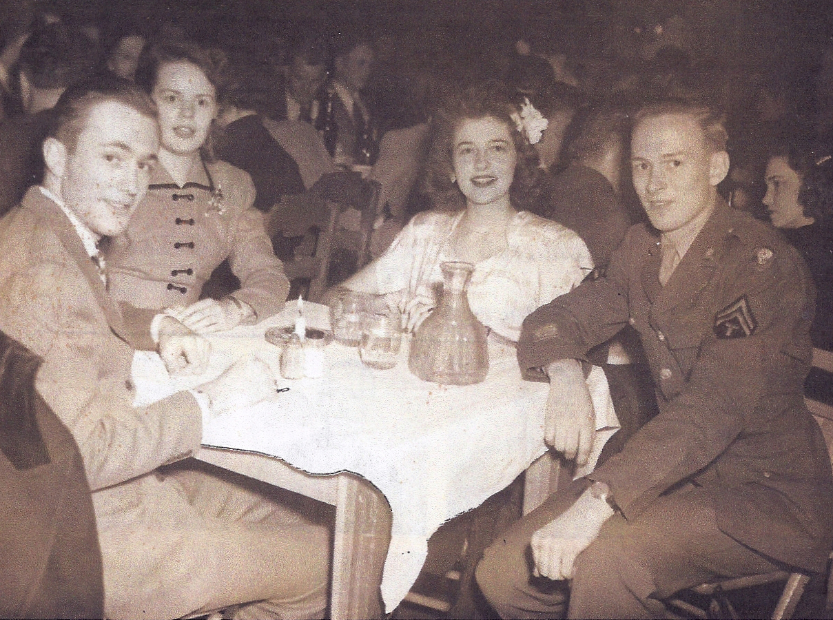 Lyt Anderson, Dolly Nance Fisher (Crabtree), Lucille Hamer, and Ralph Gates (L to R), Christmas 1945. Photo courtesy of Ralph Gates.