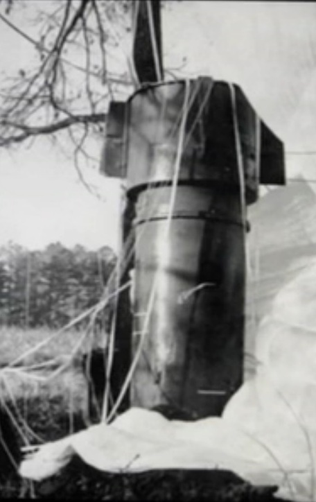One of the devices from the Goldsboro incident caught in a tree.
