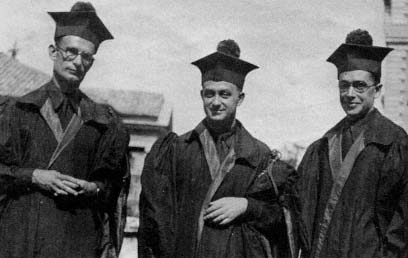 Franco Rasetti, Enrico Fermi, and Emilio Segre in academic dress