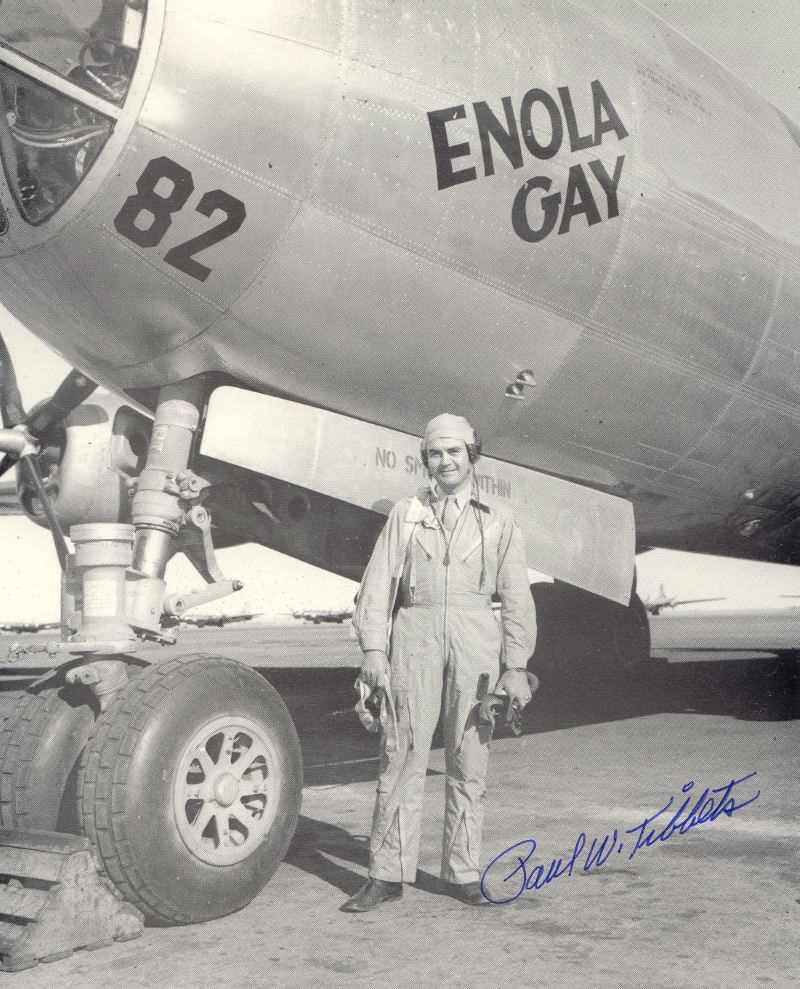 Paul Tibbets and the Enola Gay. Courtesy of the Joseph Papalia Collection.