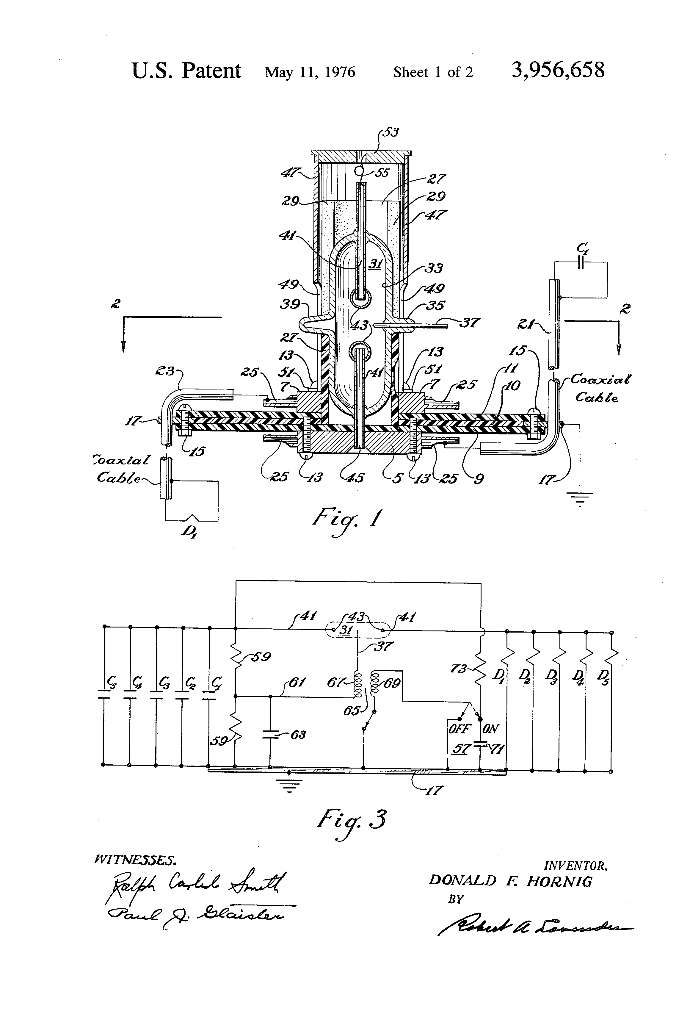 Donald Hornig's Spark-Gap Switch Patent (US 3956658 A). Image Courtesy of Google Patents and the U.S. Patent Office (https://www.google.com/patents/US3956658?dq=3,956,658).