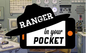 Ranger in Your Pocket logo over the control panel of the B Reactor at Hanford