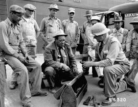 A safety meeting at Hanford during the Manhattan Project