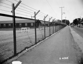 A security fence at the Hanford Site during the Manhattan Project