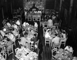 Dining at Fuller Lodge, c. 1950. Photo courtesy the Los Alamos Historical Museum Archives.