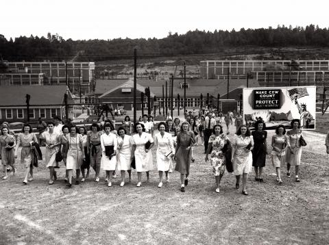 Women going to work at the Y-12 Plant at Oak Ridge