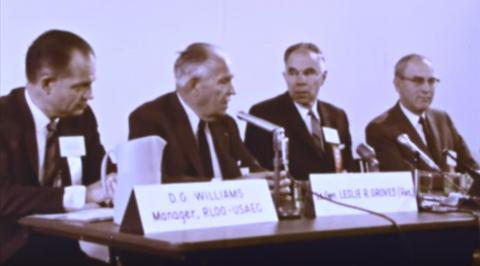 General Leslie R. Groves, Glenn Seaborg, and others at the Hanford 25th anniversary ceremony