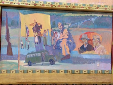 Painting commemorating Hispanos' work on the Manhattan Project at El Convento in Española.