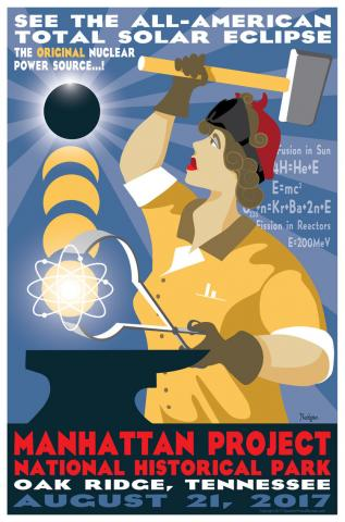 Solar eclipse poster for the Manhattan Project NHP by Tyler Nordgren.