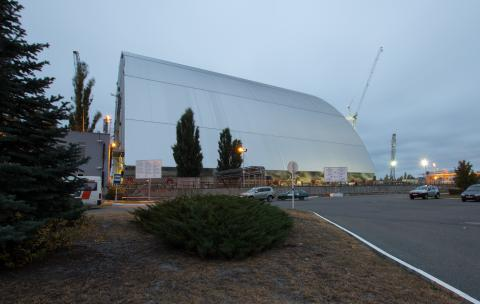 The New Safe Confinement at Chernobyl Nuclear Power Plant nearing completion in October 2016. Photo by Tim Porter.