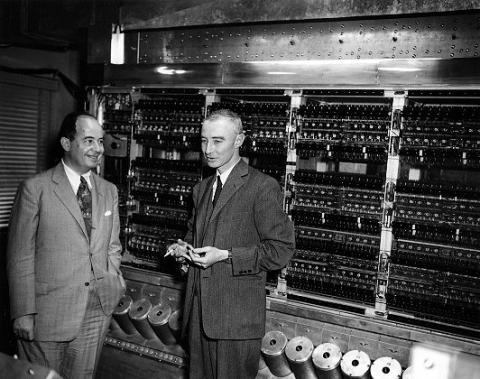 J. Robert Oppenheimer, John Von Neumann, and the MANIAC computer. Courtesy of. The Manhattan Project ...
