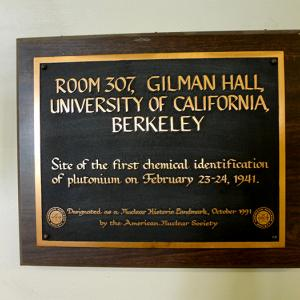 The plaque outside Room 307 in Gilman Hall today