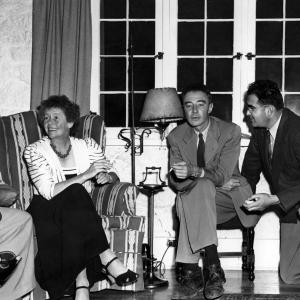J. Robert Oppenheimer hosting a party at his home in Los Alamos