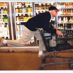 Gordon at age 95 (2014) racing down the frozen food aisle in our local Market Place. Photo by John Stimpson.
