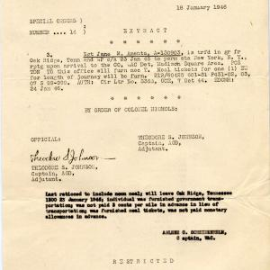 Special Orders 1/18/1946