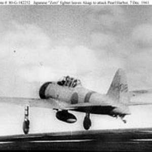 """A Japanese Mitsubishi A6M2 """"Zero"""" fighter airplane of the second wave takes off from the aircraft carrier Akagi on the morning of December 7, 1941"""