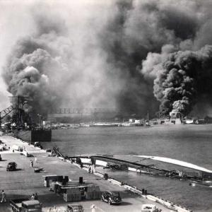 View from Pier 1010 with USS Shaw and USS Nevada burning