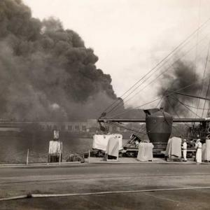 A ship burning during the attack