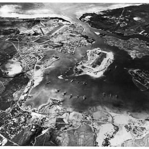 A photograph of Pearl Harbor and Battleship Row, taken on October 30, 1941