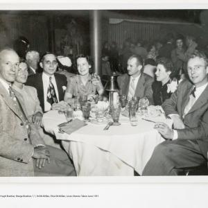 L to R: Hugh Bradner, Marge Bradner, ?, ?, Edwin McMillan, Elsie McMillan, Luis Alvarez, 1951. Photo courtesy of Ann Chaikin.