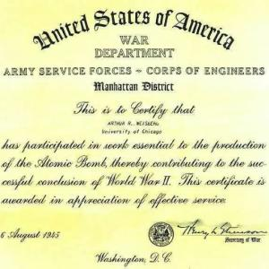 A certificate verifying Arthur Weisberg's service to the Manhattan Project from US Secretary of War Henry Stimson