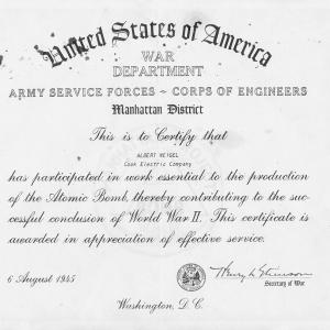 Manhattan Project certificate for Albert Weigel