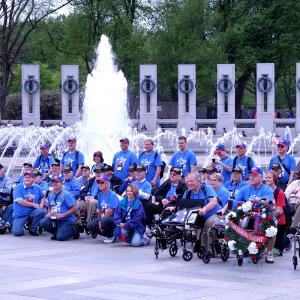 World War II veterans and Honor Flight members at the ceremony.
