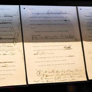 """President Roosevelt's famous """"Pearl Harbor"""" speech with handwritten notes and changes."""