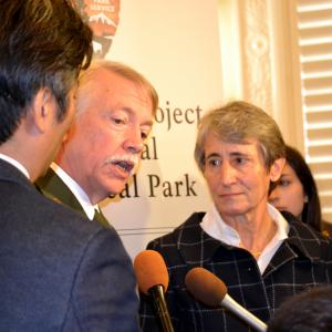 NPS Director Jonathan Jarvis and DOI Secretary Sally Jewell speaking to the press after the ceremony
