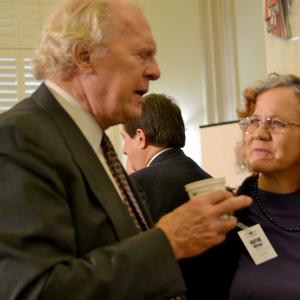 General Groves biographer Robert S. Norris and Heather McClenahan, Executive Director of the Los Alamos Historical Society