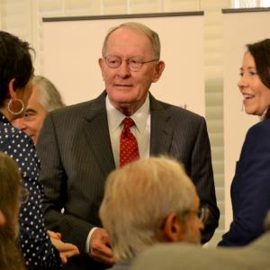 "Denise Kiernan, author of the bestselling ""The Girls of Atomic City,"" with Senators Lamar Alexander and Maria Cantwell"
