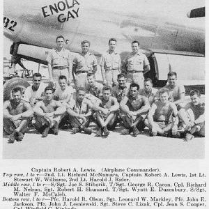 The crew of the Enola Gay, Jackson is pictured on the bottom row, third from the left