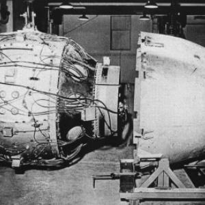 "Fat Man Assembly - X Unit visible on right of sphere attached to ""B"" plate on the forward aluminum cone"