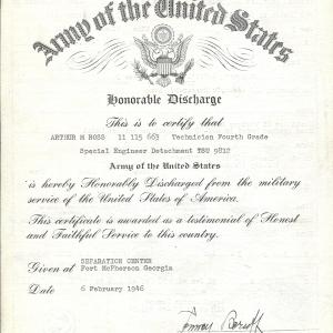 Arthur Ross's Honorable Discharge certificate