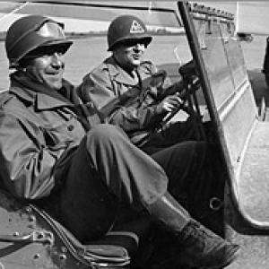 Goudsmit (right) in a Jeep during the Alsos Mission.
