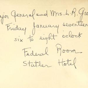 Invitation to party hosted by General Groves