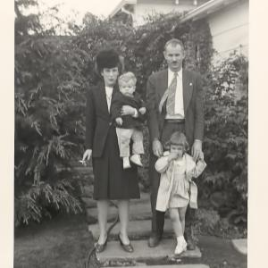 Elsie, Edwin, Ann, and Dave McMillan in California, 1946. Photo courtesy of Ann Chaikin.