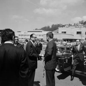 McMillan greets JFK at Berkeley Lab, March 1962. Governor Pat Brown is at R. Photo courtesy of LBNL.
