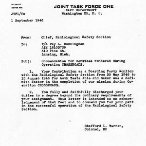 Letter of commendation for the Chief of the Radiological Safety Section for work done during Operation Crossroads from Stafford L. Warren