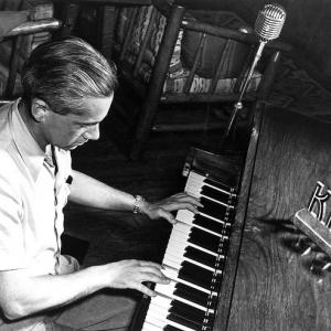Otto Frisch playing piano at Los Alamos