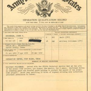 Snodgrass' discharge papers (front)