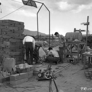 Testing for leaks at the Trinity Site, May 1945. Photograph courtesy LANL.