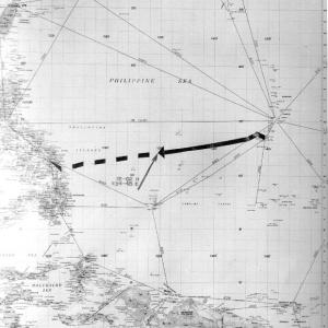 A chart of the final voyage of the USS Indianapolis
