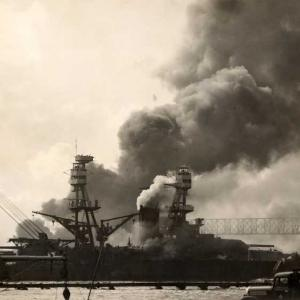 Battleship USS Nevada attempting to escape from the harbor