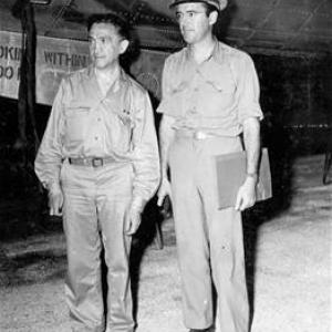 William L. Laurence with P.R.O. Maj. George Monyhan on Tinian