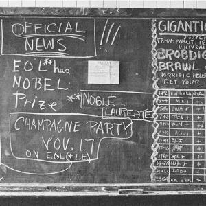 Blackboard at Berkeley announcing that Ernest Lawrence had won the Nobel Prize in Physics