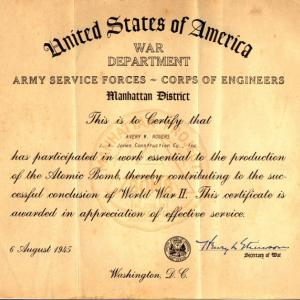 Avery W. Rogers' Manhattan Project certificate from the War Department