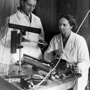 Irene and Frederic Joliot-Curie at work in their lab. Photo courtesy Association Curie Joliot-Curie
